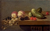 peaches, gherkins, blackberries, cherries, gooseberries and blackcurrants on a stone ledge by harmen van steenwyck