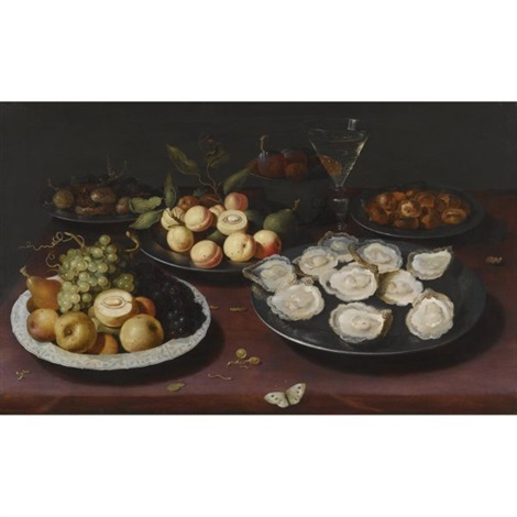 still life of fruit and a plate of oysters by osias beert the elder
