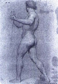a standing male nude seen frombehind, holding a stick in hisright hand by domenico corvi