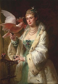 a treat for her pet by edouard-marie-guillaume dubufe