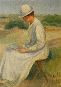 jeune femme à la lecture by charles hoffbauer