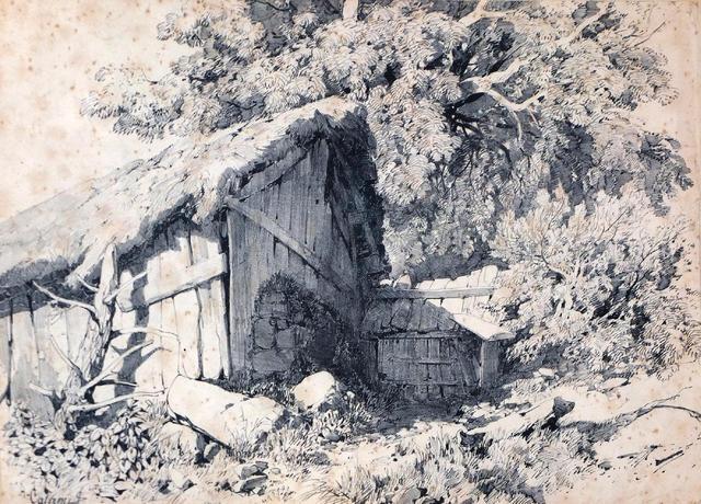 paysage à la chaumière by alexandre calame