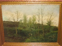 two women in verdant country landscape by hippolyte alizone