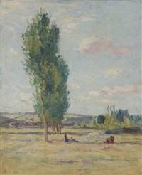 paysage aux peupliers environs de bessy by maximilien luce