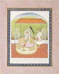 guru angad, the second sikh guru (1504-52), seated on a terrace beneath a canopy with an attendant by anonymous-indian (19)