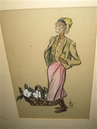 african american women carrying baskets of magnolia blossoms (pair) by alice scott