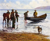 figures with curragh, cow and dog by anthony mcnally