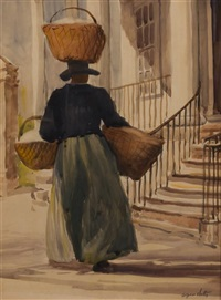 woman with three baskets by alfred heber hutty
