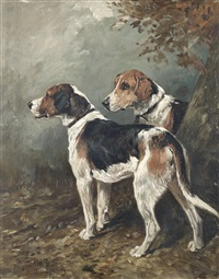 two foxhounds in a landscape by john emms