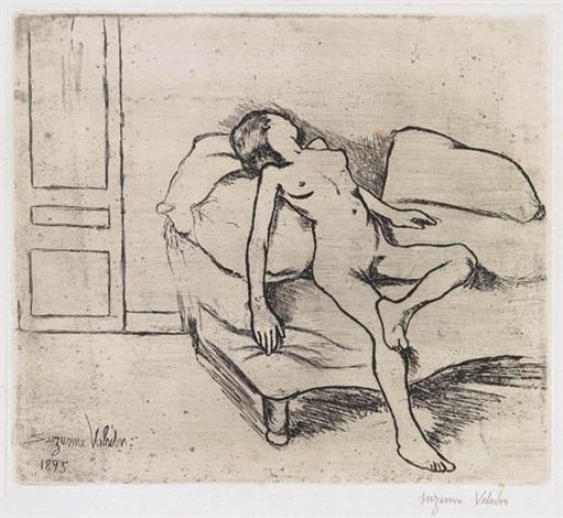 louise nue sur un canape by suzanne valadon