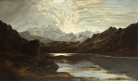 mountainous landscape (snowdon, wales) by charles leslie