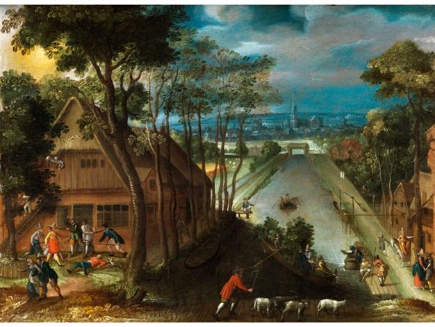 landschafts und genrebild mit einem renaissance fischzuchtbecken wirtschaftsgebäuden und bewegten szenerien by abel grimmer