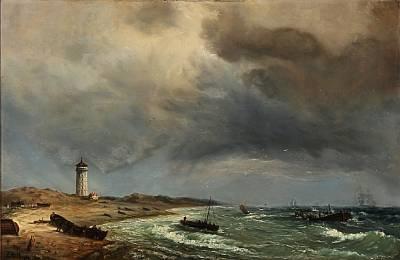 fishermen on skagen beach with det hvide fyr the white lighthouse in the background by daniel hermann anton melbye