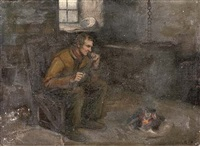 a farmer lighting his pipe by henry john dobson