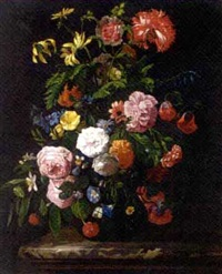 roses, morning glory, chrysanthemums and other flowers in a glass vase on a stone ledge by abraham mignon