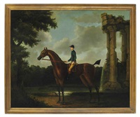 drowsy: a bay racehorse with jockey up in a wooded landscape by a classical ruin with a fountain by daniel quigley