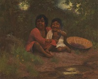two little indian girls with a basket of berries by alice coutts