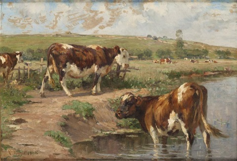 vaches à labreuvoir by léon barillot