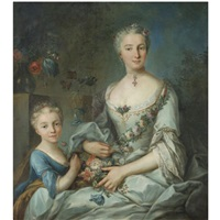 portrait of a lady seated with her daughter, three-quarter length, wearing a white silk dress holding flowers by louis tocqué