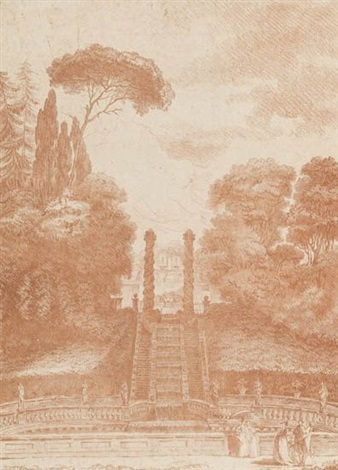 an italianate garden with an elaborate waterfall stairway two roman women in a rustic loggia 2 works by hubert robert
