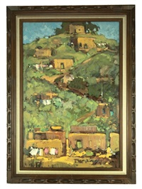 hillside with adobe buildings by hugh cabot