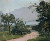 paysage, bord de lac by paul emile lecomte