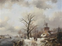 a winter landscape with figures on a snowy path by a windmill and skaters on a frozen waterway near a koek en zopie by frederik marinus kruseman