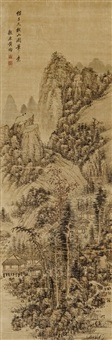 mountain landscape with houses by huang jun