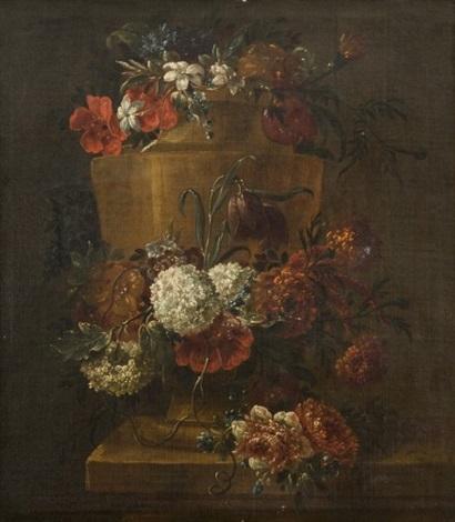 vase en pierre orné dune guirlande de fleurs by gaspar pieter verbruggen the younger