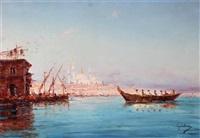 barques sur le bosphore by emile godchaux