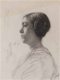 woman in profile and other figures (study) by nicolaas van der waay and leo gestel