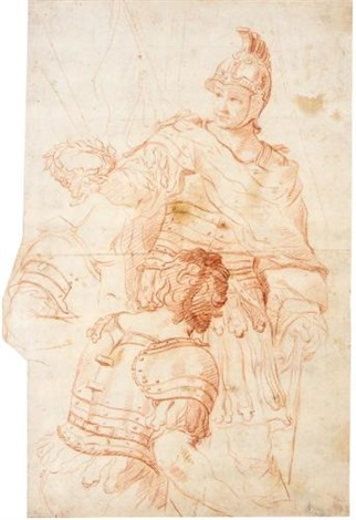 a roman general holding a laurel crown 2 others 3 works by domenico corvi