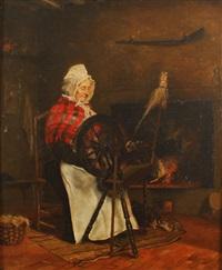 femme au rouet dans un intérieur by bernardus johannes blommers