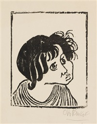 3 blätter: ehra. junger zigeuner. zigeunerkopf (papelon) (3 works, incl. 2 in color) by otto pankok