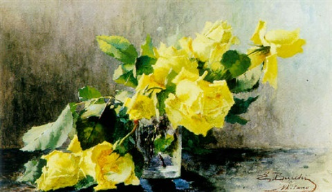 yellow roses in a vase by ermocrate bucchi