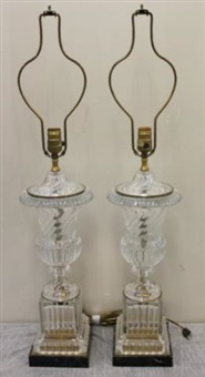 glass urn form lamps (pair_ by baccarat