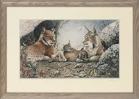 a family of lynx (+ lying leopard; 2 works) by lindsey selley