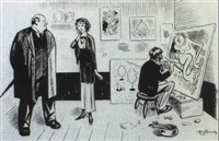 gag cartoon: landlord, woman and artist in studio by arthur (art) young
