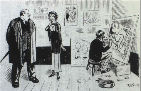 gag cartoon landlord woman and artist in studio by arthur art young
