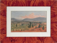 landscape depicting a valley town (hamburg, pa?) by augustus kollner