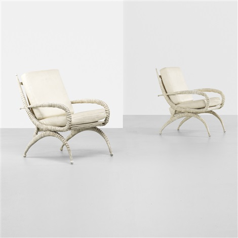 sable horn chairs pair by arthur court