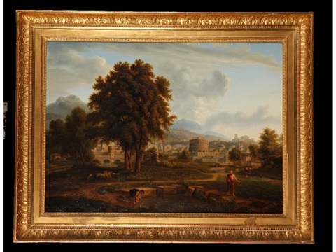 diogenes beside a pool with an italiante landscape beyond by nicolas poussin