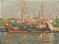 segelschiff vor stadtkulisse by alfred rasenberger