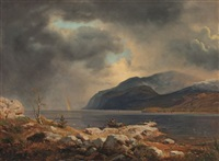 norwegische fjordlandschaft mit regenbogen by andreas achenbach