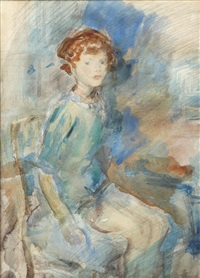 a child of the asquith family, full length, seated on a chair by ambrose mcevoy
