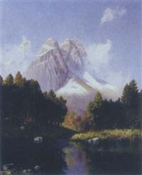 alpine river landscape by hans sengthaler
