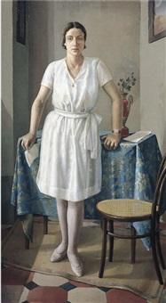 interno con ragazza (ritratto di amelia testi) by a. testi