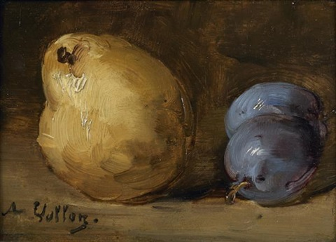 nature morte de poire et prunes by antoine vollon