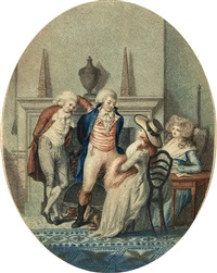 an english fireside (+ a french fireside; 2 works, after richard ansdell) by peltro william tomkins