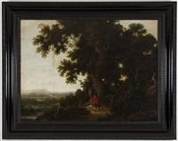 paysage avec chasseurs by joachim govertsz camphuysen